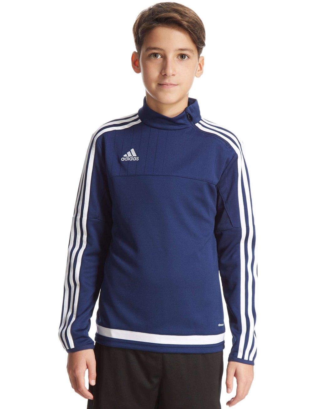 young teen boy in blue adidas sportswear sweat polo posing with his eyes wide open